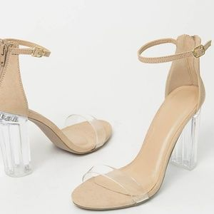 NEW🔥Clear Open Toe Lucite Heel Ankle Strap Sandal